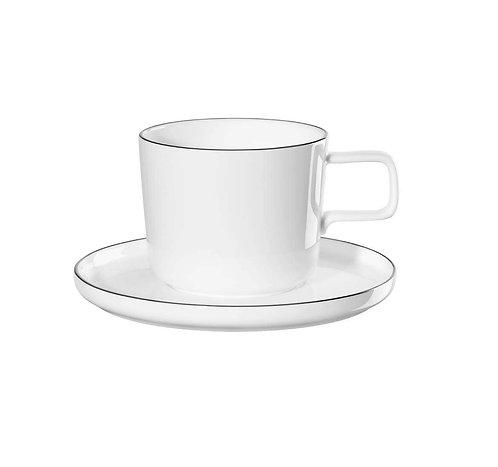 6x tasse café et soucoupe- Ligne Noire