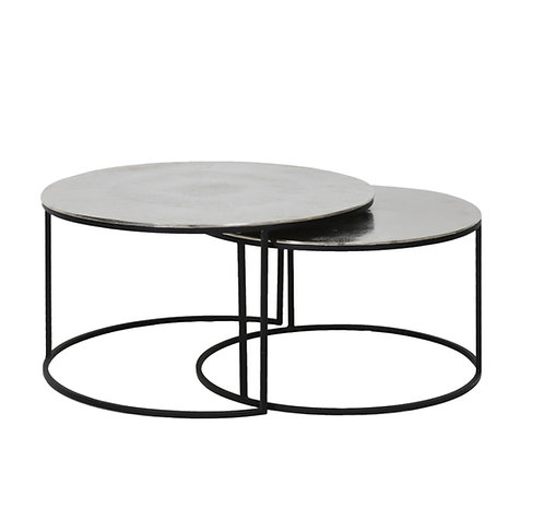 Set de 2 tables en nickel martelé