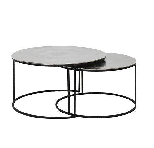 Set de 2 tables en nickel martelé