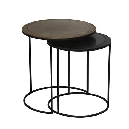 Duo de Tables d'appoint vieil or et noir