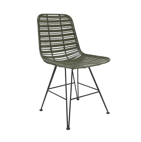 rattan dining chair olive green hokaido