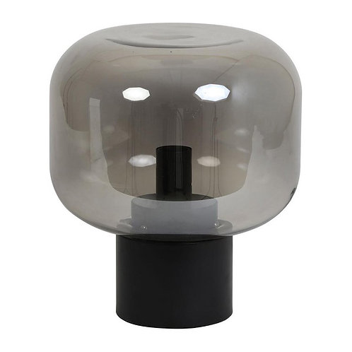 Lampe Arthur verre fumé gris+noir mat