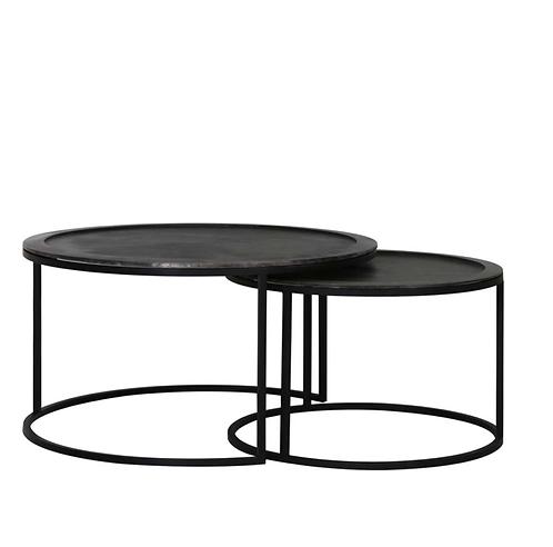 Set de 2 tables en noir martelé bord surélevé