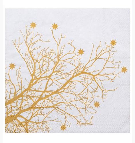 serviettes gold tree 33x33cm set de 20pc