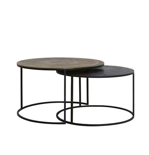 Set de 2 tables en aluminium vieilli 1