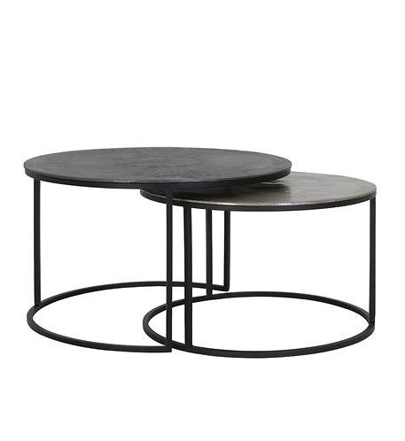 Set de 2 tables en aluminium vieilli plomb