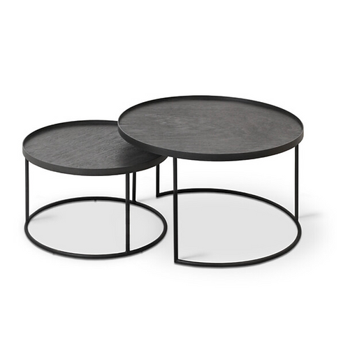 Ethnicraft set de tables bois ⌀62cm et ⌀66cm