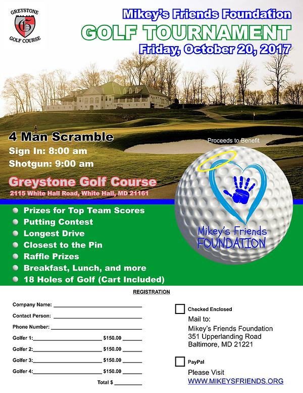 2017 Charity Golf Tournament Flyer