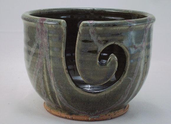 Yarn Bowl - Green with Raspberry