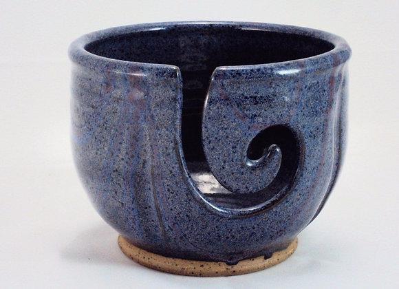 Yarn Bowl - Blue with Raspberry