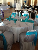 Wedding guest table chair covers, sashes, linens, place settings, napkins in white and teal