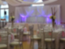 Wedding reception backdrop, head table, guest table decorations
