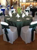 Wedding guest table chair covers, sashes, linens, place settings, napkins in grey and white