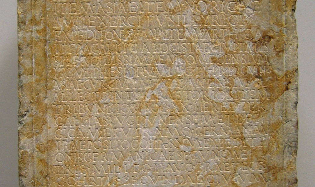 Inscribed marble base of the Roman Consul Tiberius Claudius Candidus, unearthed in Tarragona from 195–199 AD.