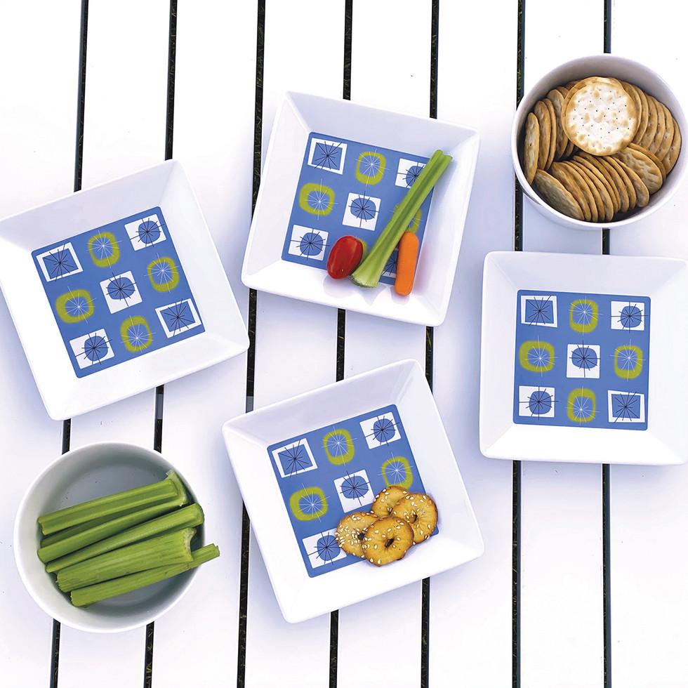 Atomic melamine snack plates