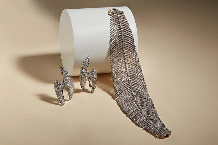 Bird Pins and Feather Bracelet