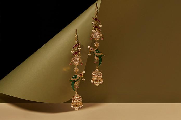 Parrot Jhumki Earrings