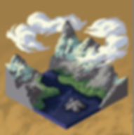 illustration, landscape, mountain, isometric