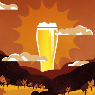 illustration, beer, budweiser, sunrise