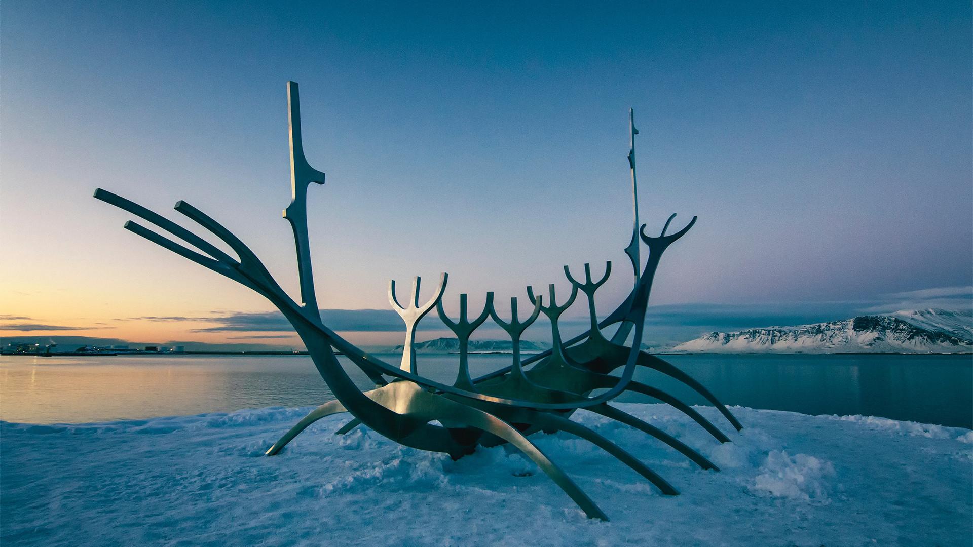 viking boat on ice