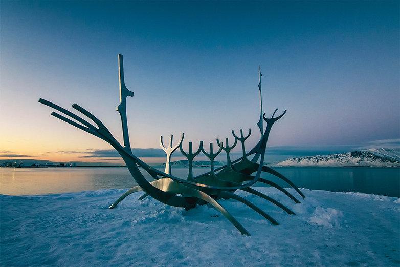 Sólfarið, sculpture in Reykjavík Iceland.