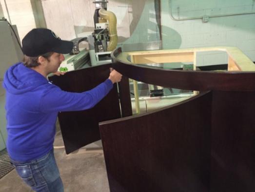 Reed building new stand for custom acrylic aquarium