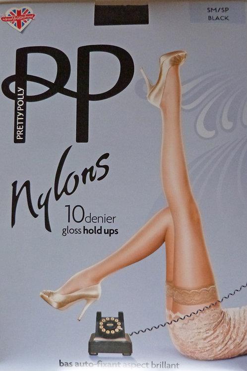 Pretty Polly Nylons 10 Denier Gloss Hold Ups in Black Small/Medium