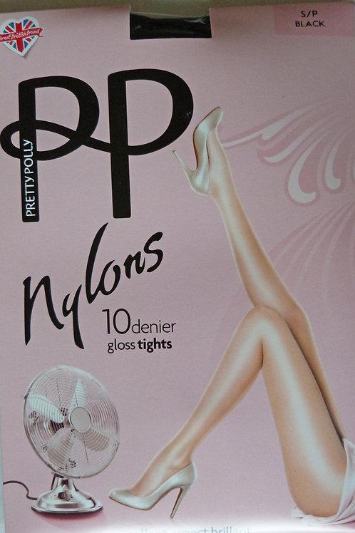 Pretty Polly Nylons 10 Denier Black Gloss Tights Small