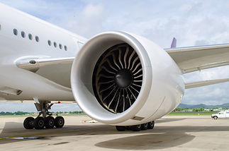 Turbine of engine airplane in airport ba
