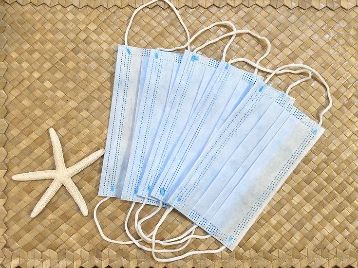 使い捨て3層マスク 5枚入(色:ブルー)