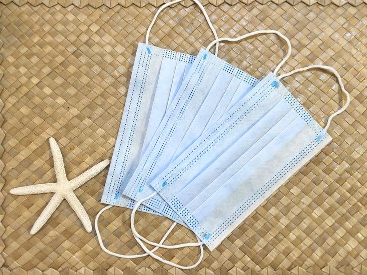 使い捨て3層マスク 10枚入(色:ブルー)