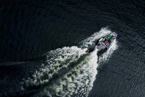 Lake Windermere - Wake surfing from above.