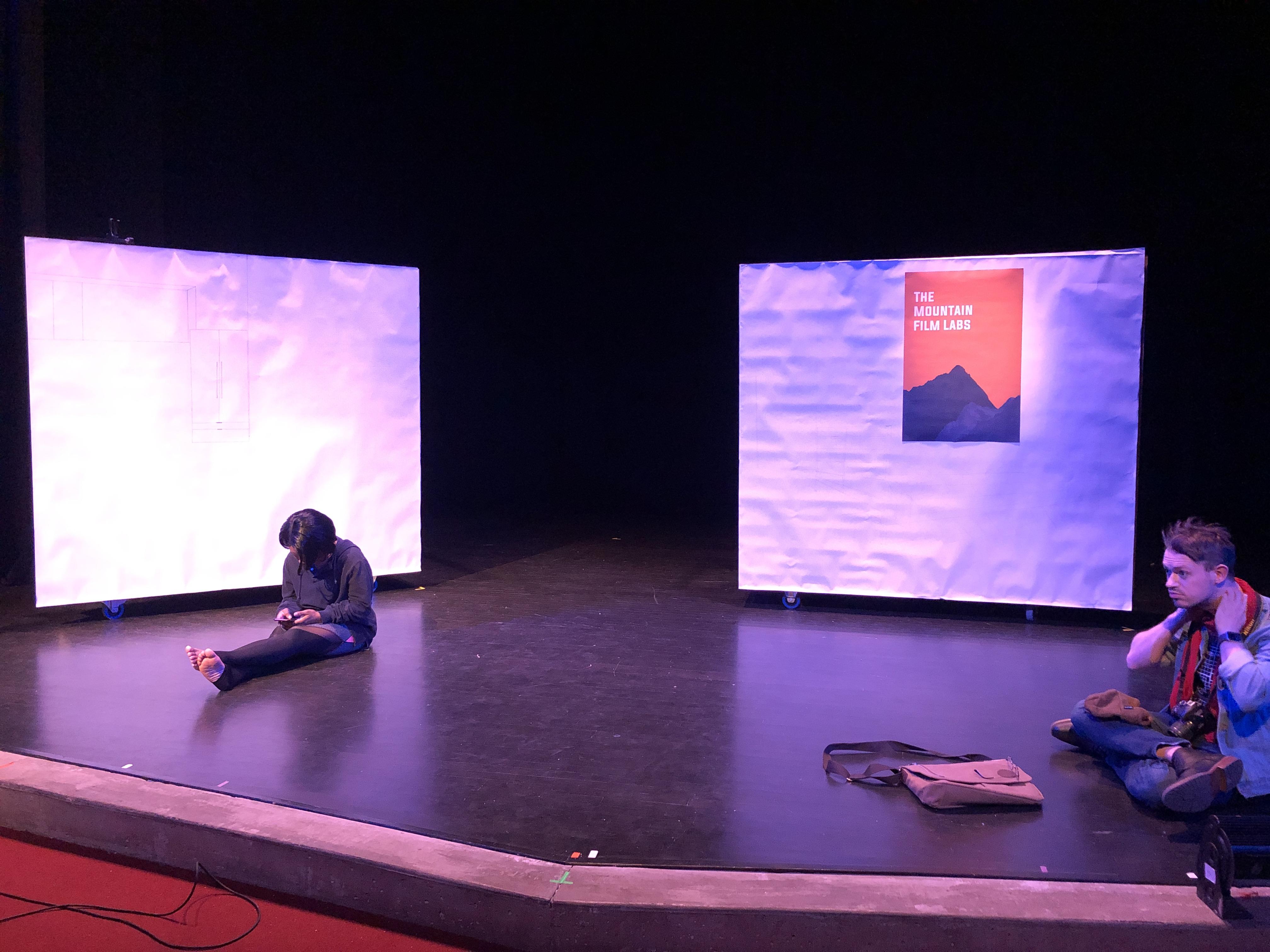 The Two Periaktoi On-Stage