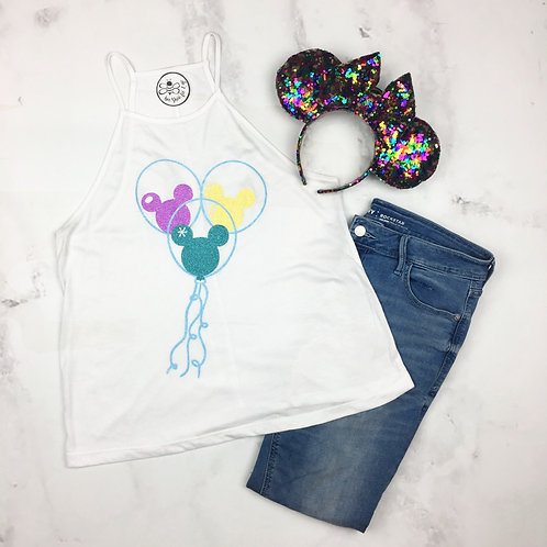 Glitter Mickey Balloons High Neck Tank