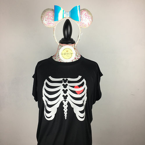 Glow In the Dark Mickey Skeleton Muscle Tee with Rolled Cuff