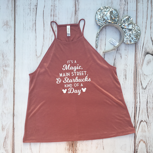 Main Street Kind of a Day Flowy High Neck Tank