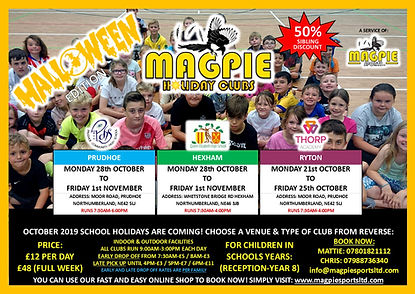 Holiday Club - October 2019 - Flyer Fron