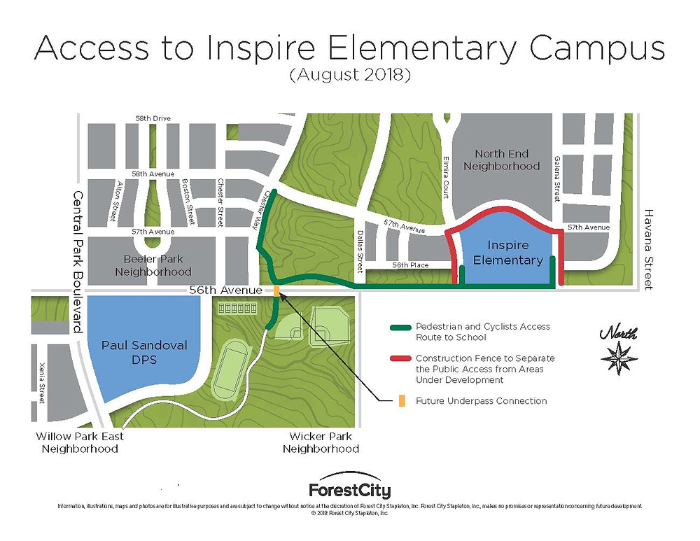 Walking route to the new Inspire Elementary School