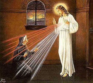 Jesus appears as the Divine Mercy to St. Sr. Faustina Kowalska