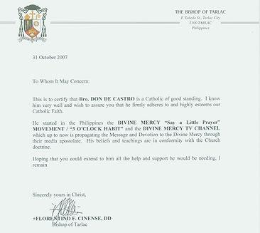 Certification of Bishop Florentino Cinense, Bishop of Tarlac, for Bro. Don de Castro - Founder & Servant Leader of the Divine Mercy - 3 O'Clock Habit