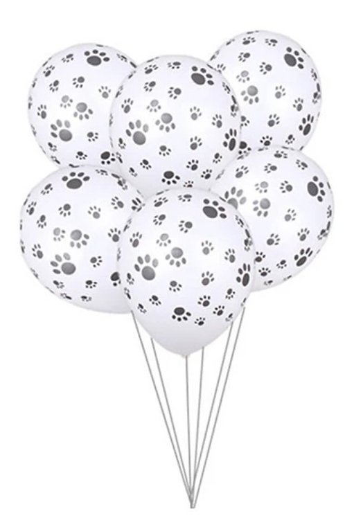 Paw Print Party Balloons Black or White(Pack of 5)