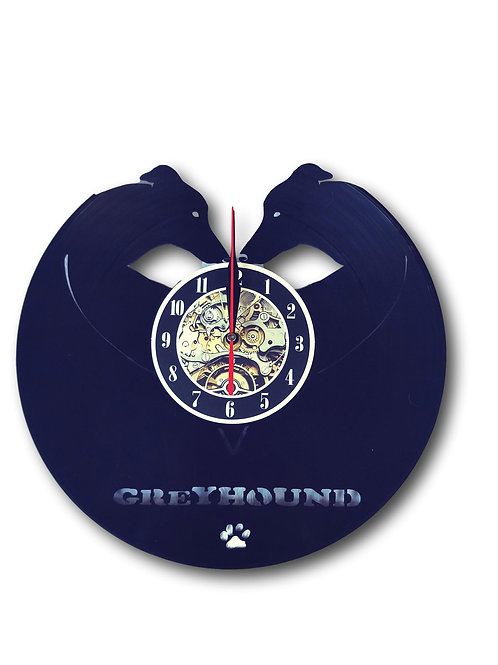 Greyhound Wall Clock - Vintage Vinyl Recycled- LED Backlighting