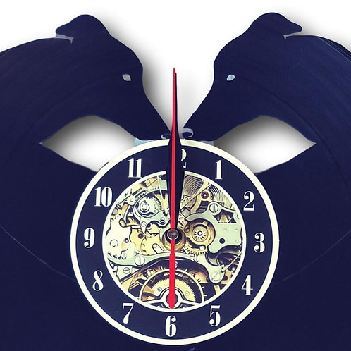 Greyhound Wall Clock - Vintage Vinyl Recycled- LED Backlighting