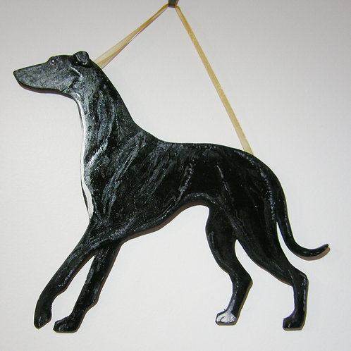 Hand Painted Wall Hanging - Black Hound