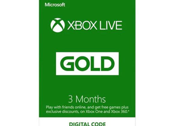 כרטיס קוד דיגיטלי Xbox Live 3-Month Gold Membership