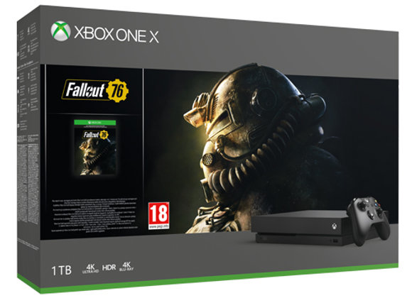 קונסולה Microsoft Xbox One X 1TB הכוללת משחק Fallout 76 בצבע שחור ואחריות היבואן
