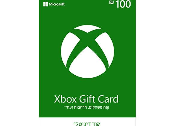 """כרטיס קוד דיגיטלי Microsoft Xbox Gift Card על סך 100 ש""""ח"""