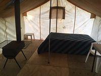Inside of prospector tent