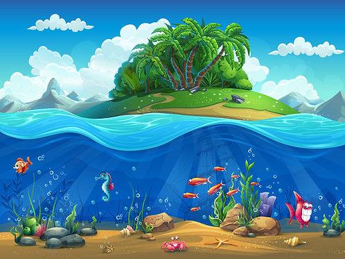 Fundo Fotografico Tecido Helanca Light - Fundo do Mar -