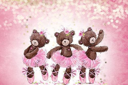 Fundo Fotográfico em Tecido Helanca Light - Ursa Bailarina